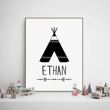Customize Boys Name With Teepee Canvas Art Print and Poster ,Personalized Name Art Painting Wall Picture For Baby Boy Room Decor