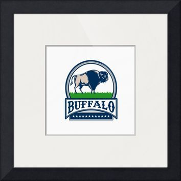 """American Bison Buffallo Banner Circle Woodcut"" by Aloysius Patrimonio"