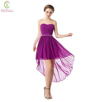 SSYFashion 2017 Bridesmaid Dresses Short Chiffon Sweetheart Strapless Asymmetry Lace-up Formal Dress Plus Size Bridal Prom Dress