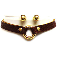 FAUX LEATHER CHOKER RING NECKLACE WITH METAL BALL POST EARRINGS - BROWN