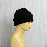 Mens Knit Beanie Hat in BLACK  Womens Hat warm beanie knitted washable soft unisex women teen