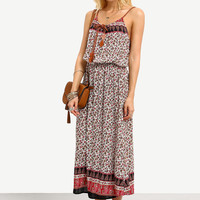 Fashion Casual Multicolor Floral Print Strap Sleeveless Beach Maxi Dress