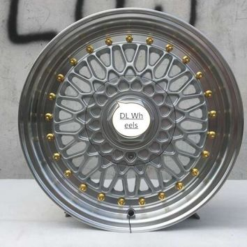 BS RS 15x6.5 Black And Gold 4x100 4x114.3  Car Alloy Wheel Rims