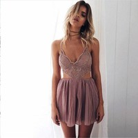 Women Summer Fashion Backless Hollow Out Pink Romper [9819012621]