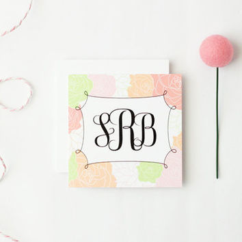 Custom Enclosure Cards Personalized Mini Gift Tags Pink Mint Coral Flowers Shabby Chic Birthday Cards Tags Girls Monogram Cards / Set of 25