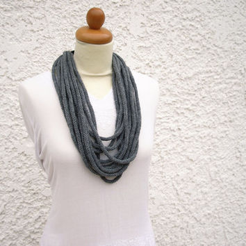 Grey knit necklace, chunky statement necklace, tube knitted scarf, circle scarf, urban accessories