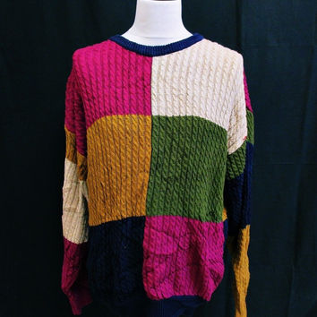 Vintage 1990s PSYCHEDELIC SQUARES Sweater Jumper Large Crazy Indie Pattern