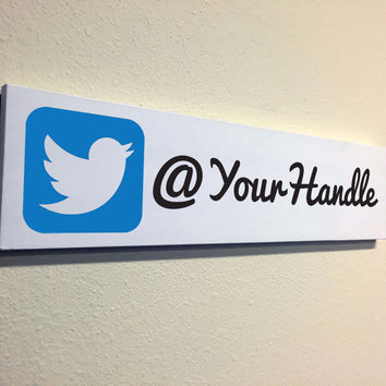 Social Media Signs: Custom Made Twitter Wood Sign, 16x4