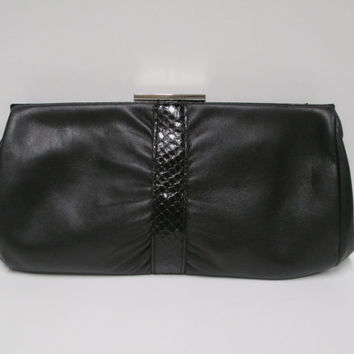 Vintage Etienne Aigner Black Leather Clutch  Faux Snake Skin Trim Purse Handbag  Genuine Leather