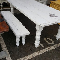 Beautiful Crispy White Fixer Upper Style Farmhouse Table