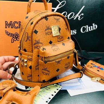"""MCM"" Women Bag Shoulder School Bag Backpack (Mini Shoulder straps + Wallet + Puppy Pendant )"