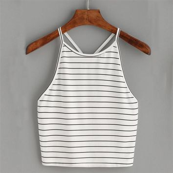 Harness sleeveless striped camisole tank top tees Sexy elastic Cotton bustier crop top Summer backless women tops cami #JFR0