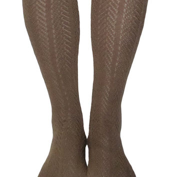 Women's Light Brown Chevron Pattern Button Lace Boot Socks, Crochet Lace Button Boot Socks, gift
