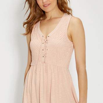 tank with lace up front in dusty peach | maurices