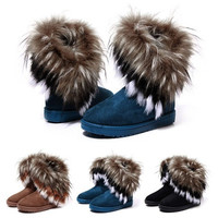 New Womens Faux Fur Boots Suede Mid Calf Fashion Winter Warm Sheepskin Shoes Z_G [8238487239]
