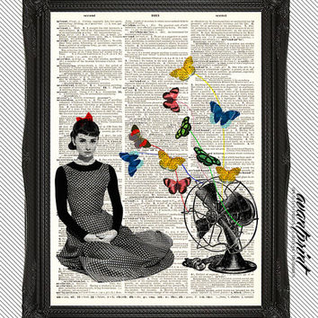 Sabrina and the Butterflies Hepburn Retro Film Print on an Unframed Upcycled Bookpage