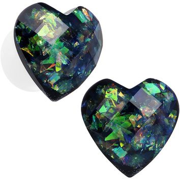 00 Gauge Multicolor Heart White Acrylic Saddle Plug Set
