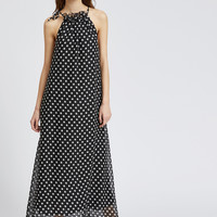 Black Polka Dot Halter Chiffon Maxi Dress