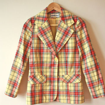 70s Yellow Plaid Bobbie Brooks Blazer Womens