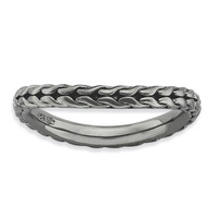 Sterling Silver Stackable Expressions Polished Black-plated Wave Ring: RingSize: 7