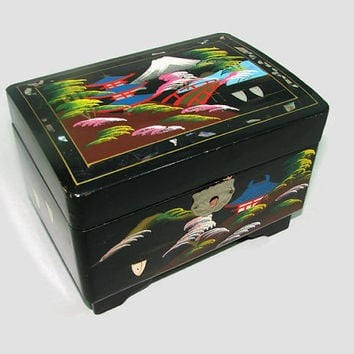 Vintage Japanese Black Lacquer Jewelry Box with Working Music Box Plays I Could Have Danced All Night
