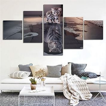 Newest Island 5 Panels Decorations Modern Canvas Prints Artwork Cat and Tiger Pictures Paintings Canvas Wall Art Painting Decor