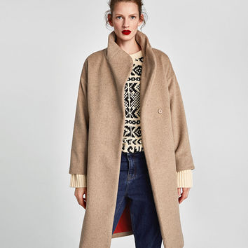 LONG COAT WITH WRAPAROUND COLLAR