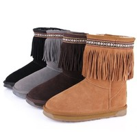 Bohemian Tassel Mid Calf Boots for Women
