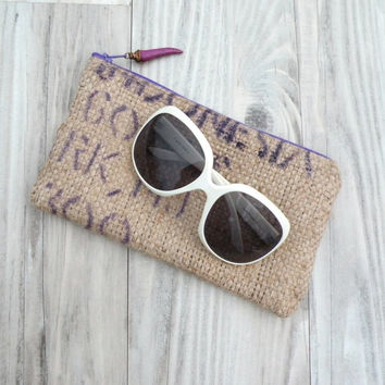 Printed Burlap Pouch - Ecofriendly, made from Repurposed Coffee Bag