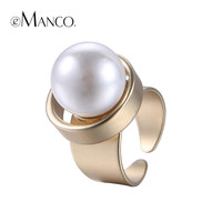 eManco Minimalist Geometric Statement Cuff Rings for Women Large Imitation Pearl Copper Gold Plated Fashion Brand Jewelry