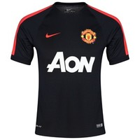 Manchester United Squad Short Sleeve Training Top-Black