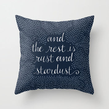 "Decorative Pillow Cover,""And the rest is rust and stardust"",Navy Blue, Home Decor,Bedroom,Living Room,Throw Pillow,Dorm,Polka Dot,Typography"