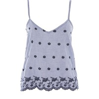 Gingham Embroidered Night Camisole Top - Lingerie & Sleepwear - Clothing