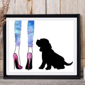 Dog print, Baby beagle, Yoga legging, High heels, Printable art, Large poster, Dog wall decor, Greeting card, Office wall art, Dog printable