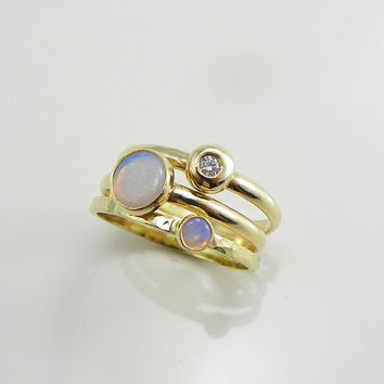 Opal Ring, Diamond Ring Solid 14k Gold, Stacking Rings, Opal Engagement Ring, Stacking Rings Gold, Stacking Ring Set