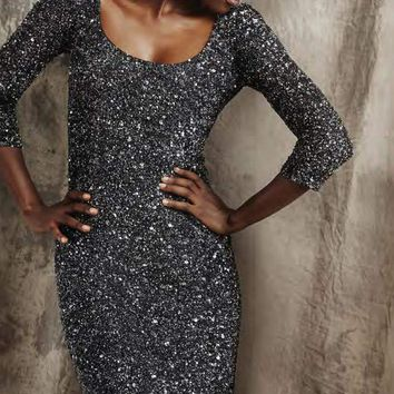 Theia - 881046 Shimmering Sequined Scoop Sheath Dress