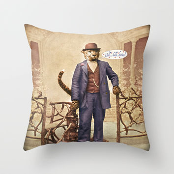 """One Cool Cat: """"Well . . . Hello, kitties!"""" Throw Pillow by Peter Gross"""