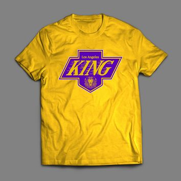 LA KINGS/ LAKER'S LOGO MASH UP LEBRON JAMES PARODY CUSTOM T-SHIRT