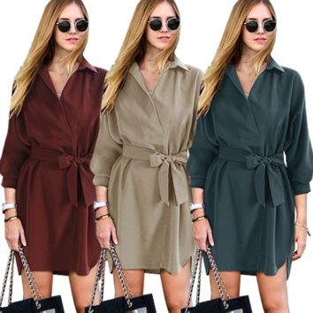 Autumn and winter fashion lapel lace temperament long-sleeved dress female
