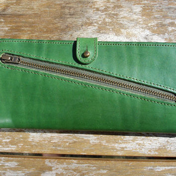 Handmade Green Leather wallet for women