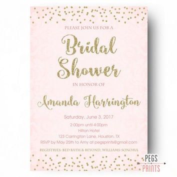 Gold and Pink Bridal Shower Invitation - Gold Bridal Shower Invitation - Glitter Bridal Shower Invitation - PRINTABLE Bridal Shower Invites