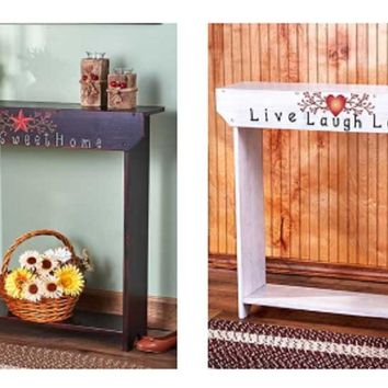 Slim Accent Console Table Country Sentiment Themed Wood Narrow Hallway Entry
