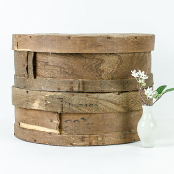 Antique Rustic Round Wooden Cheese Boxes Set of Two