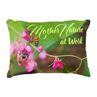 Bees On Coral Vine Flowers Photograph Decorative Pillow