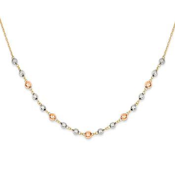 14k Tri-Color Gold Fancy Mirror Beaded Necklace