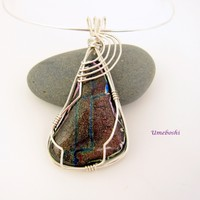 Pendant of a Million Stars Dichroic Glass Argentium Silver Wire Wrapped Cabochon