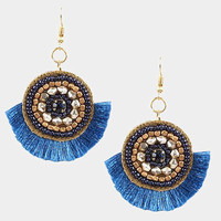 Montana Blue & Gold Round Multi Beaded Thread Fringe Earrings