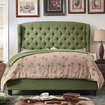 Becker Upholstered Wingback Panel Bed in Olive Green
