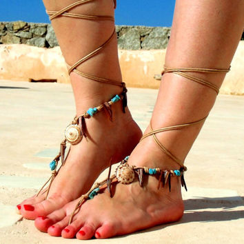 Native America,  Barefoot Sandals, Nude shoes, Foot jewelry, Wedding, Victorian Lace, Sexy, Yoga, Anklet , Bellydance, Steampunk, Beach Pool