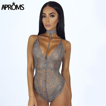Autumn Gray Lace Halter Choker Bodysuit Womens 2017 See Through Summer Mesh Hollow Bodycon Rompers Jumpsuits 80235